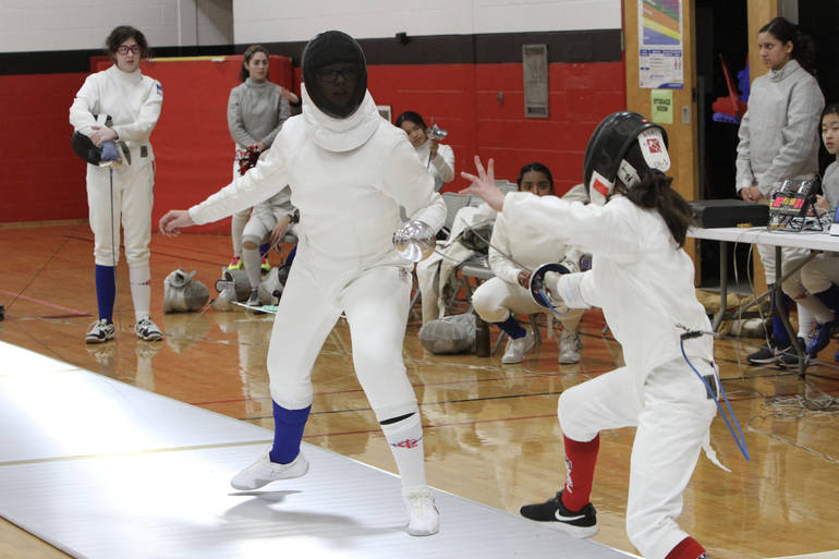 Sophomore epee Rachael Prokap during one of her three wins at West Essex.jpg
