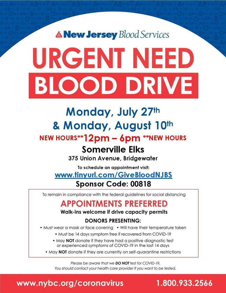 Urgent Need for Bridgewater Blood Drives on 7/27!