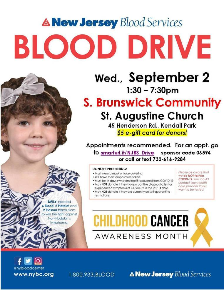 South Brunswick Blood Drive on 9/2 - $5 e-gift card to donors!