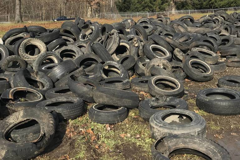 Some of the nearly 800 tires that were pulled from Lake Hopatcong during the lake-wide cleanup on November 3..jpg