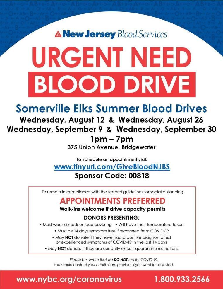 Somerville Elks Hosting Urgent Blood Drive on Wednesday