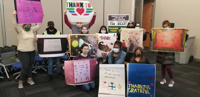 "Soehl Middle School Honor Society created and delivered ""Thank You"" signs to the Union County Covid-19 Testing Facility"