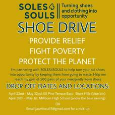 Millburn High School Junior Collecting Shoes for Soles 4 Souls in Honor of Earth Day