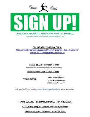 Time to Sign Up for Ponytail Softball