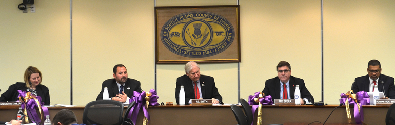 Scotch Plains Council decorated in purple ribbons to mark 100 years of women's suffrage