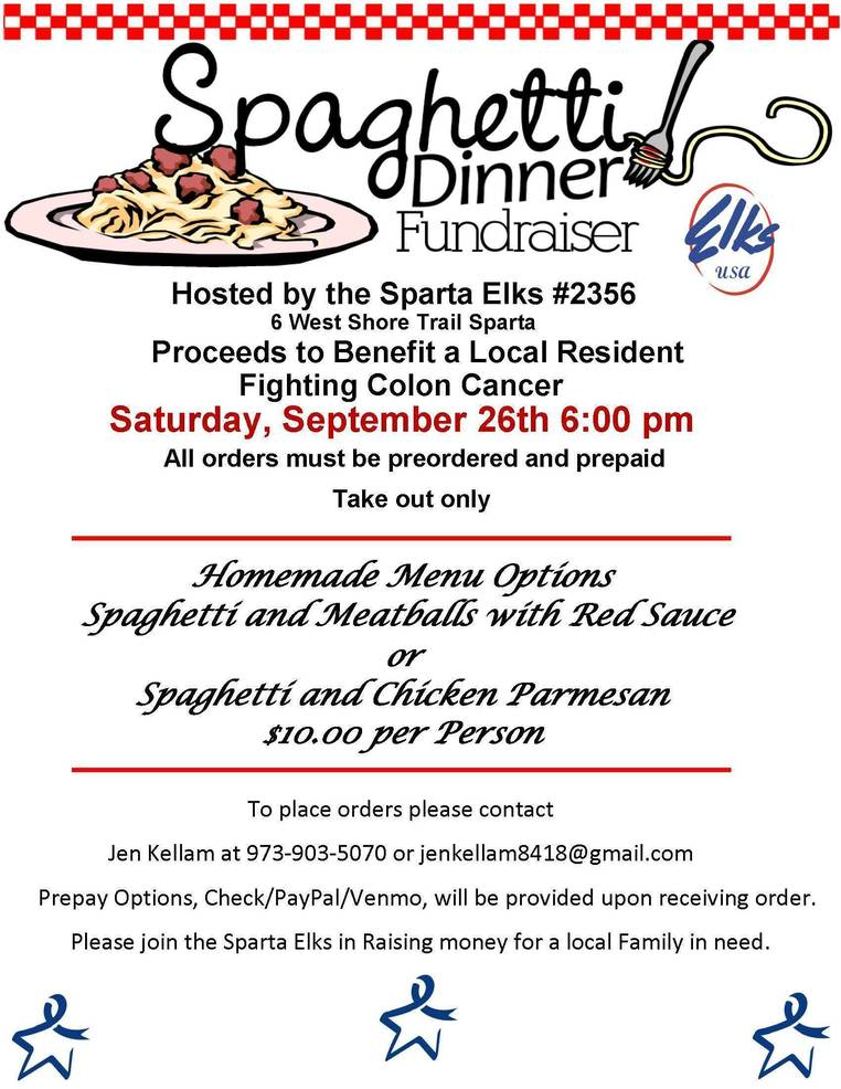 Sparta Elks To Hold Spaghetti Dinner Fundraiser For Area Resident Battling Cancer Tapinto