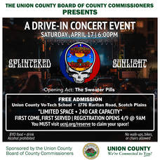 Union County Announces Free Drive-In Concert at Vo-Tech Campus in Scotch Plains on April 17