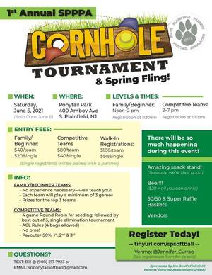 1st Annual SPPPA Cornhole Tournament and Spring Fling