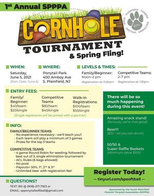 Cornhole Tournament on Saturday, June 5th at the Ponytail Fields