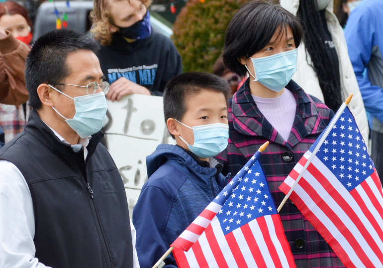 Asian Americans in the crowd at the Stop Asian Hate Rally in Scotch Plains on April 17, 2021.
