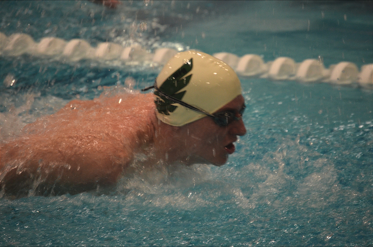 Marco Niro, St. Joseph (Metuchen) swims in the 100 Butterfly.