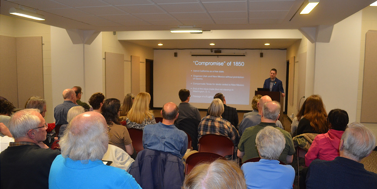 Crowd at the Manifest Destiny presentation at the Scotch Plains Library.