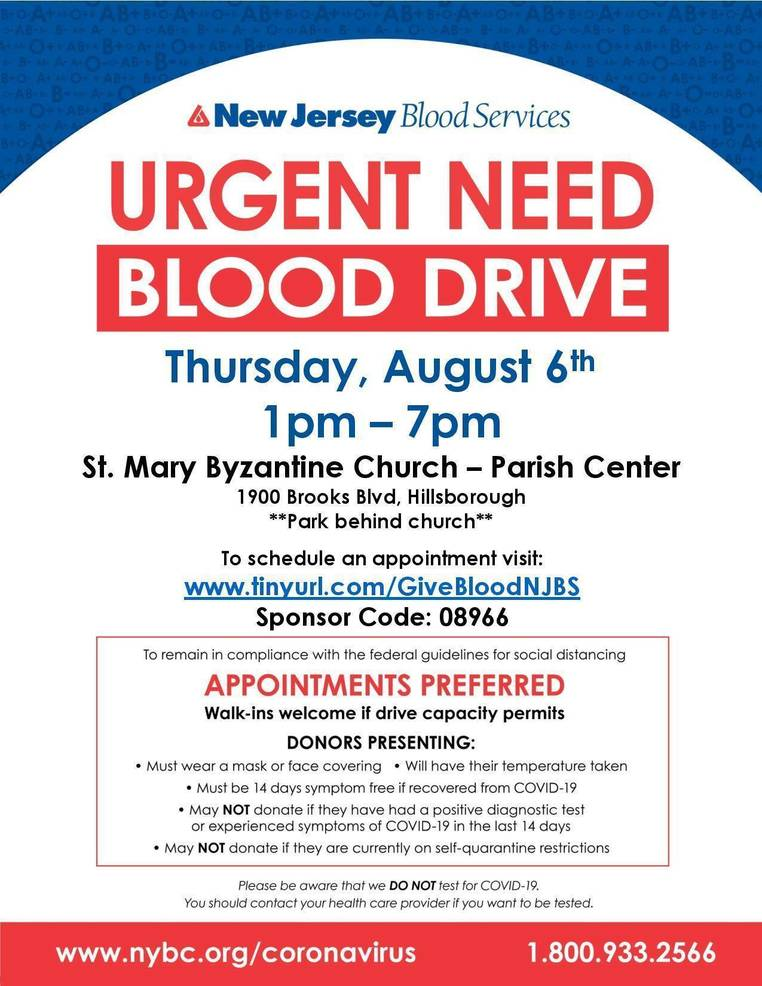 St. Mary's Church is Hosting an Urgent Community Blood Drive on Thursday