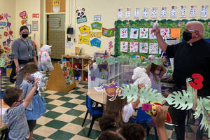Fr. John Paladino visits to bless the (stuffed) animals in celebration of the Feast of St. Francis of Assisi at St. Bartholomew Academy in Scotch Plains