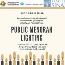 Menorah Lighting Set for Summit's Village Green Dec. 13; Public Can Attend Virtually
