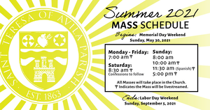 St Teresa of Avila Announces Summer Schedule, Details New Safety Guidelines