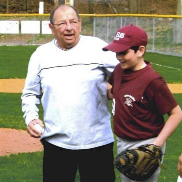 On the PAL field for Elks, with his grandfather, Dan Parisi, Sr.