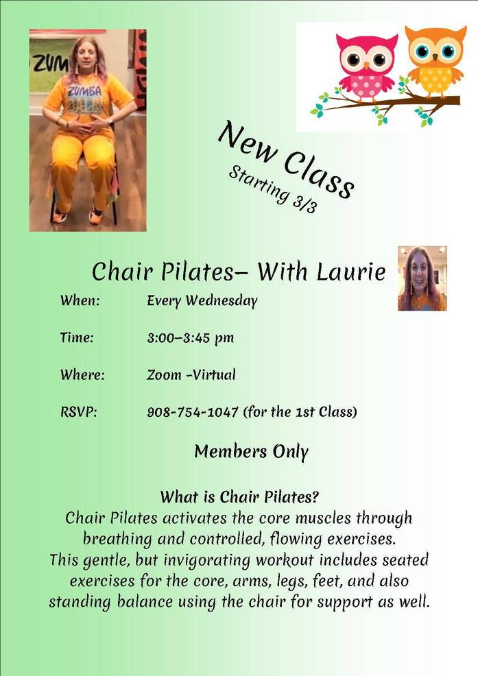Senior Center Goes Virtual Offering Zumba, Chair Yoga, Chair Pilates and Reiki Energy Healing