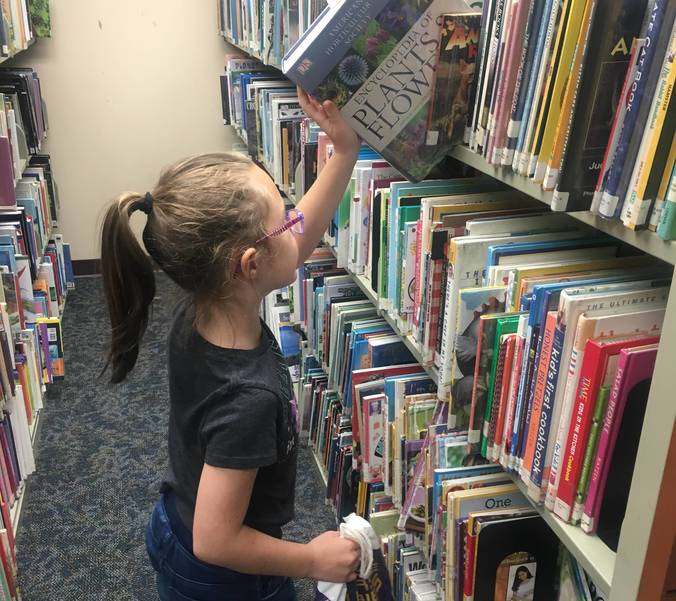 Keira O'Toole looks for new books to check out.