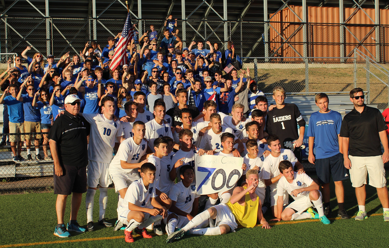 Team celebration of Scotch Plains-Fanwood soccer coach Tom Breznitsky's 700th win in 2016.