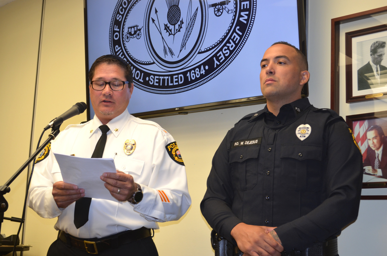 Scotch Plains Police Chief Ted Conley introduces Officer WIllie DeJesus