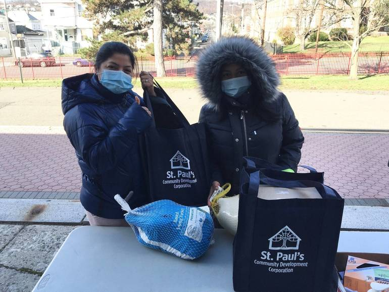 Basket Giveaway Makes Sure JFK High School Families Won't Go Hungry This Thanksgiving