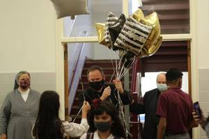 Bishop Sweeney Visits St Anthony School in Hawthorne on 1st Anniversary of His Installation