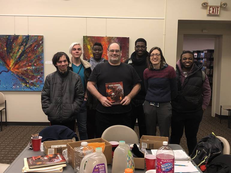 Tim and the group joined by Teen Librarian Jane Sawyer .jpg