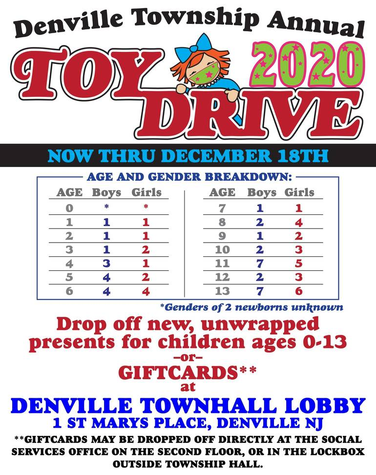 2020 Toy Drive by Denville Social Services is Underway