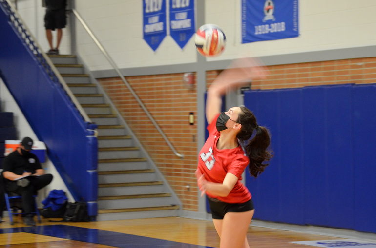 Scotch Plains-Fanwood girls volleyball player Tori Cirillo serves against Colonia.