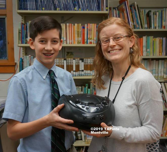 Trinity Christian School student Joey Falciola and kindergarten teacher Danielle Abrahamsen ©2019 TAPinto Montville.JPG