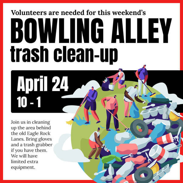 Residents Picking Up Litter Behind Eagle Rock Lanes on April 24