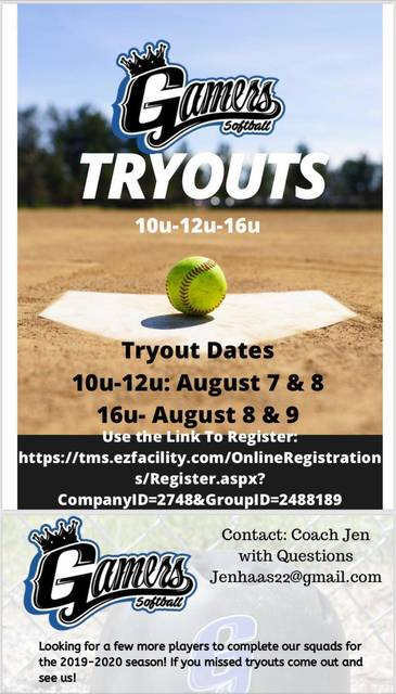 Gamers Softball Tryouts Start Tomorrow | TAPinto