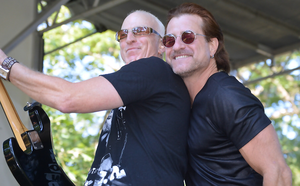 """Fanwood's Craig Kiell, pictured at Fanwood Fan Jam 2018 with Unforgettable Fire singer Tony Russo, will be featured on E!'s """"Clash of the Cover Bands"""""""
