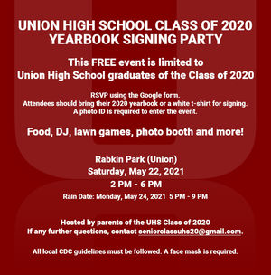 A Chance to Make Up a Little for Last Year:  Union High's Class of 2020 Students Get a Yearbook Signing Party