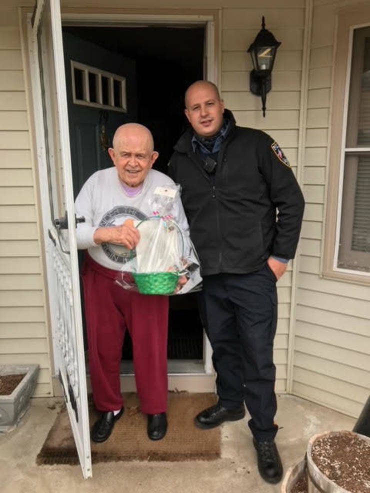 Sparta Chelsea Senior Living  and Police Bring Easter Baskets to Sparta Seniors