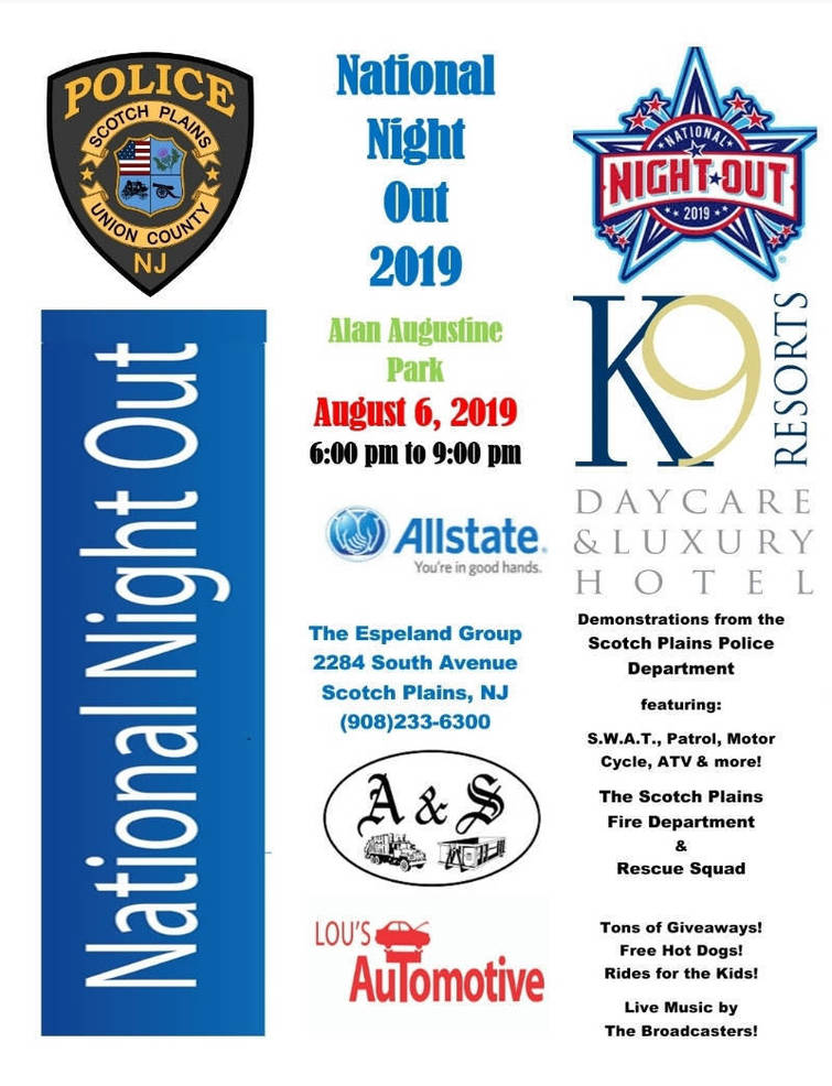 Scotch Plains National Night Out will be Tuesday, Aug. 6, 2019