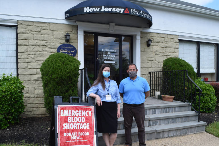 Mayor Josh Losardo visits NY Blood Center donation facility in Scotch Plains.