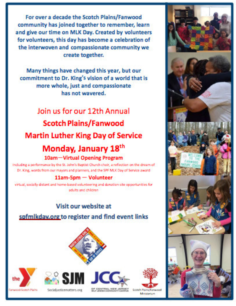 MLK Day of Service details for Jan. 18 in Scotch Plains-Fanwood.