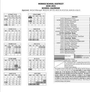 Morris School District Revises 2020-21 School Calendar