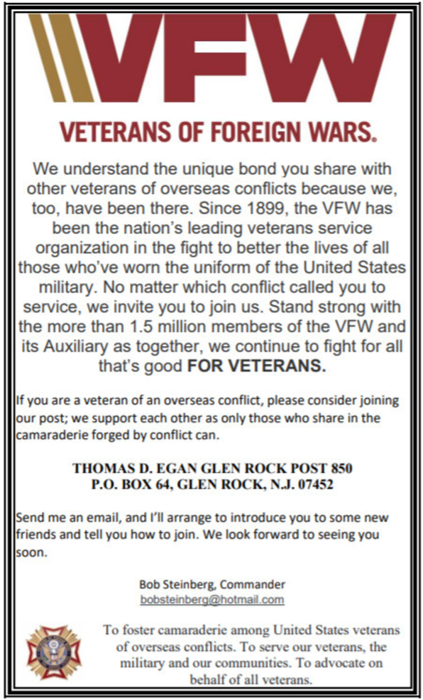 A Message from the Glen Rock VFW