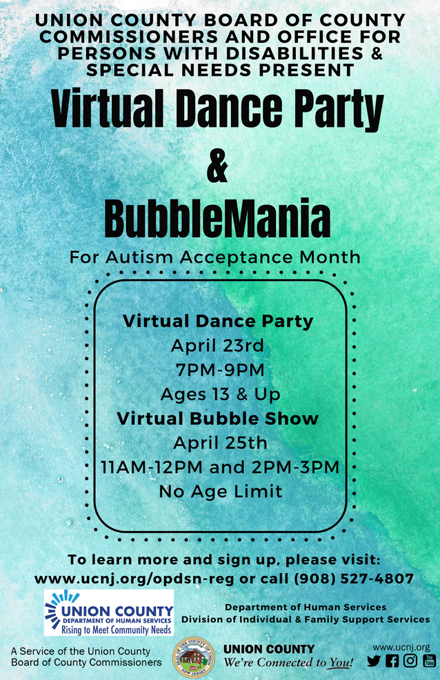 Union County's Inclusive Activity Series Continues with Virtual Dance Party and Bubble Trouble, April 23 and 25