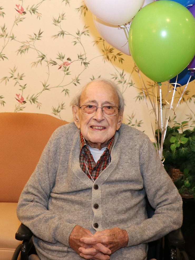Walter Doer, age 103, lives at the Chelsea at Fanwood assisted living facility.