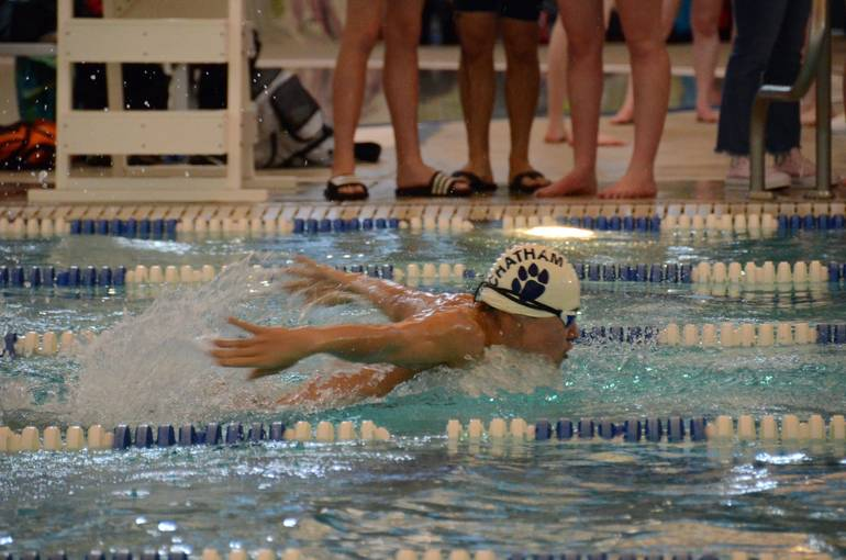 Chatham high school boys swimming loses to delbarton tapinto for Mark morris high school swimming pool