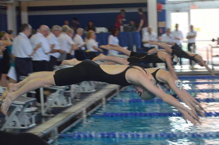 Scotch Plains-Fanwood's Aislinn Mooney dives in the 200 Freestyle at the NJSIAA Meet of Champions.
