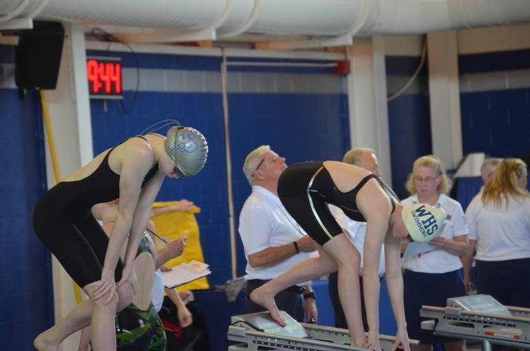 Scotch Plains-Fanwood's Aislinn Mooney and Westfield's Lauren Lane ready to swim in the 500 IM at the NJSIAA Meet of Champions.
