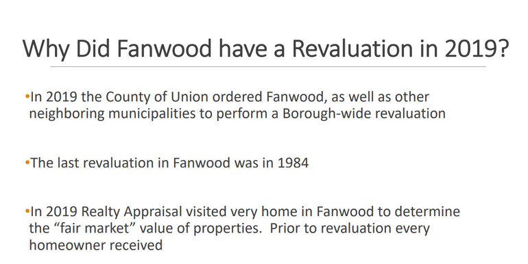 Why the homes of Fanwood residents were reassessed in 2019.