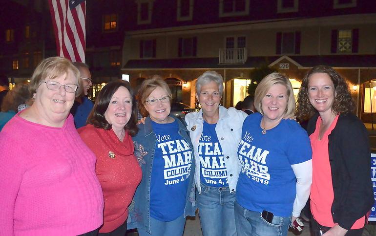 Female members of the Fanwood Democratic Committee: Kathy Mitchell, Pat Plante, Adele Kenny, Trish Walsh, Mayor Colleen Mahr, and Erin McElroy-Barker
