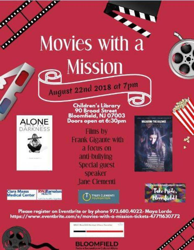 Movies with a Mission in Bloomfield Will Shine a Light on Bullying and Suicide  sc 1 st  TAPinto & Movies with a Mission in Bloomfield Will Shine a Light on Bullying ...