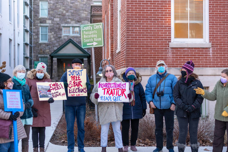 Protestors Line Flemington Main Street, Calling for County Director Soloway to Resign